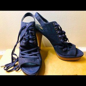 ZARA | Suede Blue Lace Up Heels
